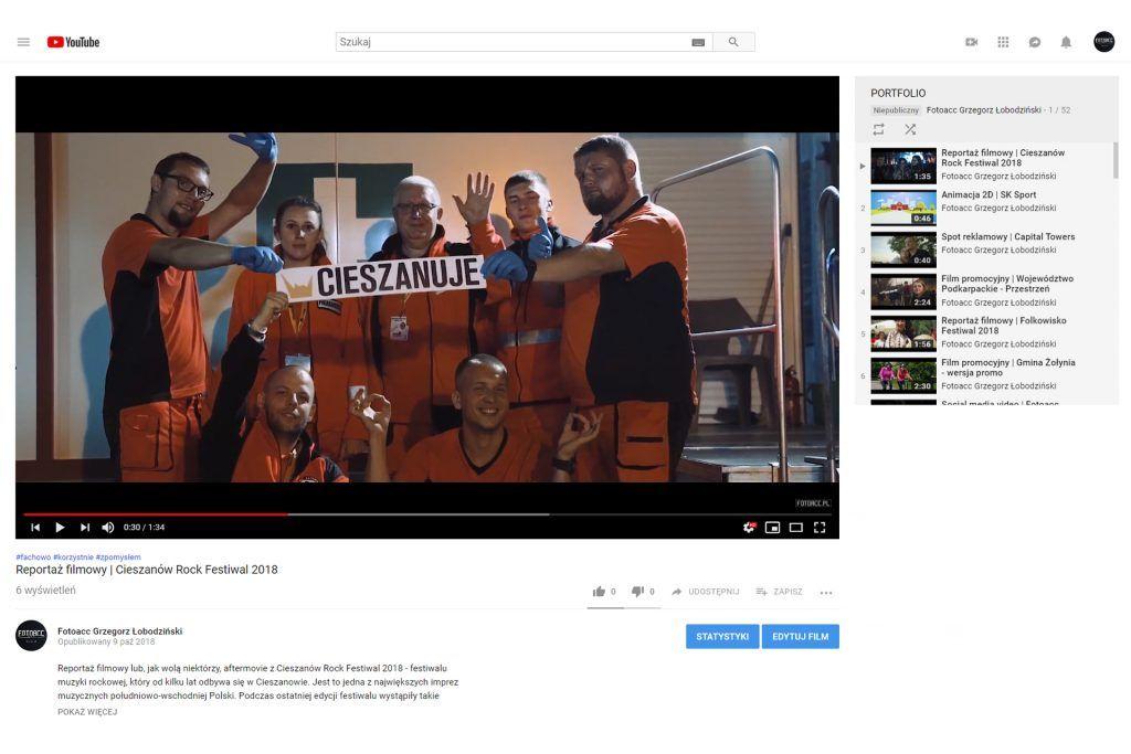 Pozycjonowanie filmów na YouTube - kanał Fotoacc podgląd